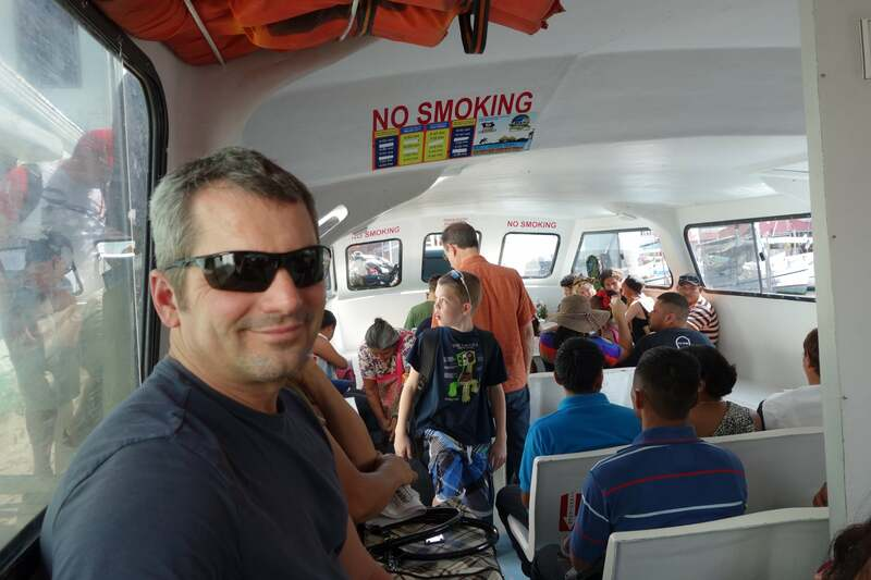 Taking the ferry from Belize City to Caye Caulker.  Very interesting and a fun way to see around.